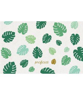 Leukekaartjes Wenskaart - Proficiat met tropische bladeren