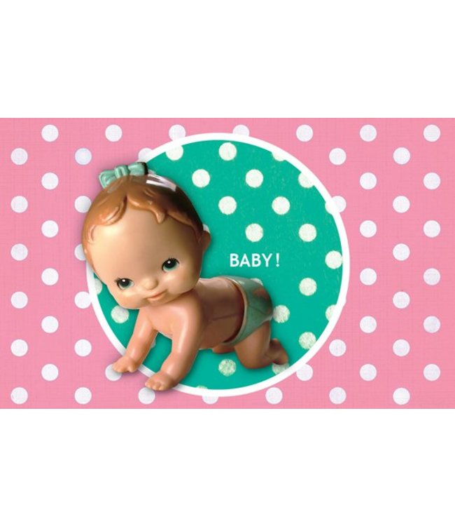 Leukekaartjes Greeting card - birth retropop