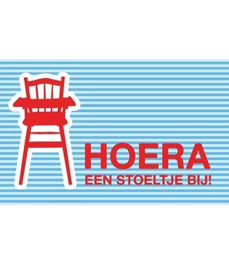 Leukekaartjes Wenskaart - geboorte  Hoera een stoeltje erbij