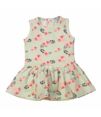 Dirkje kinderkleding Dirkje meisjes jurk mint met bloemen