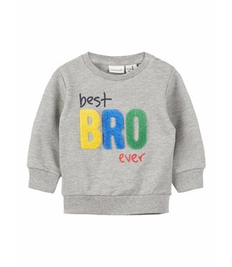 Name-it Name-it grijze sweater Dada Best Bro Ever