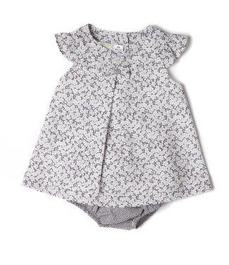 Babybol Robe de bébé fille grise à fleurs gris
