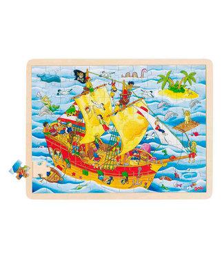 Goki Puzzle de fenêtre en bois Goki pirates 96pcs