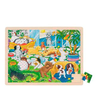 Goki Goki 48pcs école de chiot puzzle fenêtre en bois