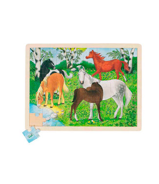 Goki Goki wooden window puzzle pony farm 48st