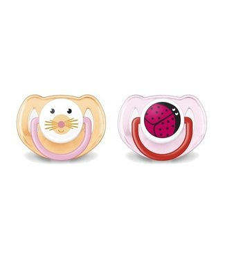 Avent Avent set 2 pacifiers 6-18M Orange / Pink