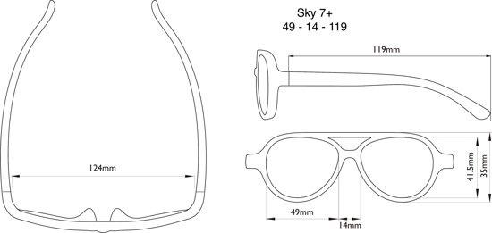 real shades zonnebril afmetingen Sky 7+