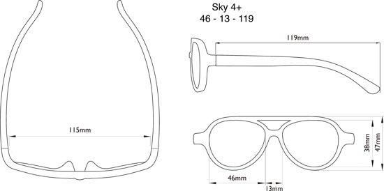 real shades zonnebril afmetingen Sky 4+