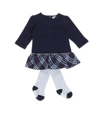 Babybol Babybol blauwe meisjes jurk +  grijze panty
