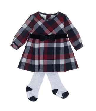 Babybol Babybol blauwe meisjes geruite jurk + panty