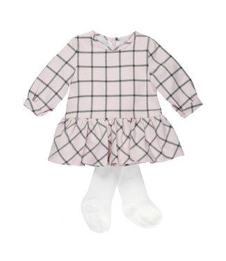Babybol Babybol roos geruit jurkje + panty Rosa