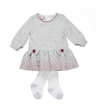 Babybol Babybol grijs baby jurkje + panty