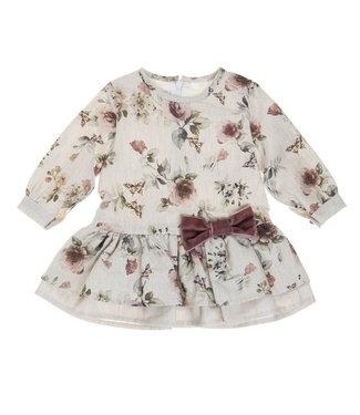 Babybol Babybol beige meisjes bloemen jurk