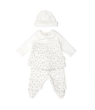 Babybol Pyjama hiver bébé globe 2 pièces + Bonnet Blanc cassé