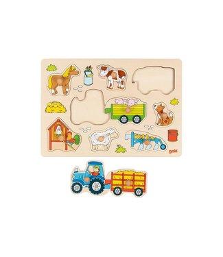 Goki Goki noppenpuzzel traktor 1+