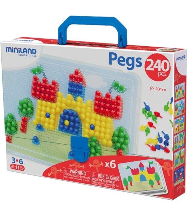 Miniland Miniland Mosaic Pegs - 10 mm 240 pieces