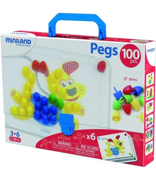 Miniland Pegs de mosaïque Miniland - 20 mm 100 pièces