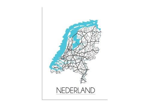 DesignClaud Niederlande Karte - Innenposter - Wanddekoration - weißer Hintergrund - schwarz-weißes Poster