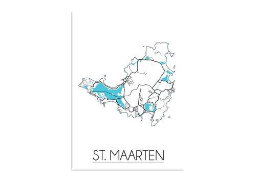 DesignClaud St. Maarten Plattegrond poster