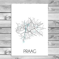 Praag Plattegrond poster