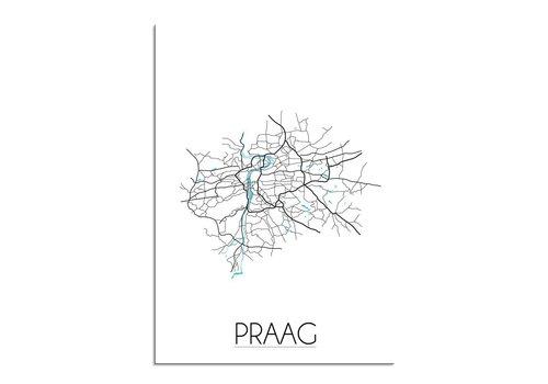 DesignClaud Prag Tschechische Republik Stadtplan Karte Poster - Weiß Schwarz Blau