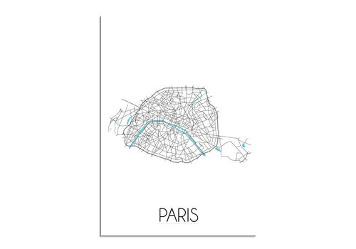 DesignClaud Paris Stadtplan Karte Poster - Weiß schwarz blau