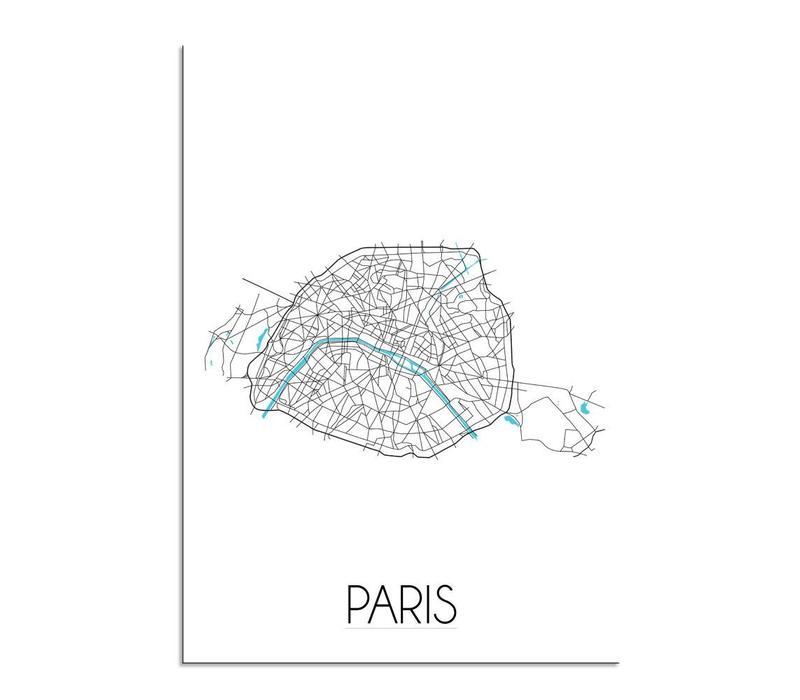 Parijs Plattegrond poster