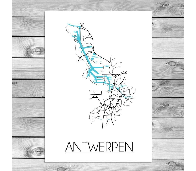 Antwerpen Stadtplan Karte Poster - Weiß Schwarz Blau