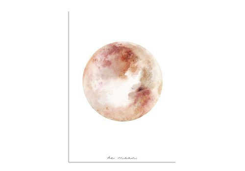 DesignClaud Moon Aquarellplakat - Wanddekoration - Rosa Orange Rot
