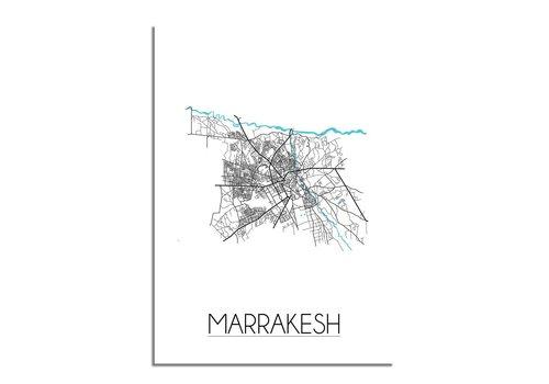 DesignClaud Marrakesch Stadtplan Karte Poster - Weiß