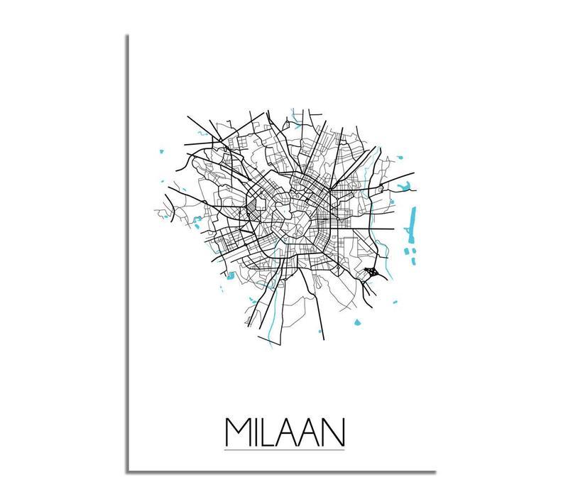 Milaan Plattegrond poster
