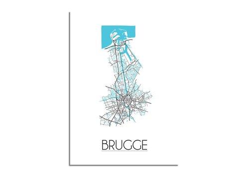 DesignClaud Brugge Plattegrond poster