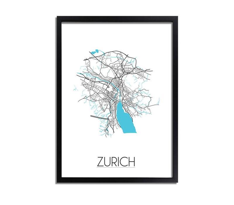 Zurich Plattegrond poster