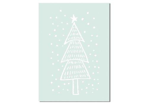 DesignClaud Kerstboom - Handgetekend - Kerst Poster - Tekst poster - Mint