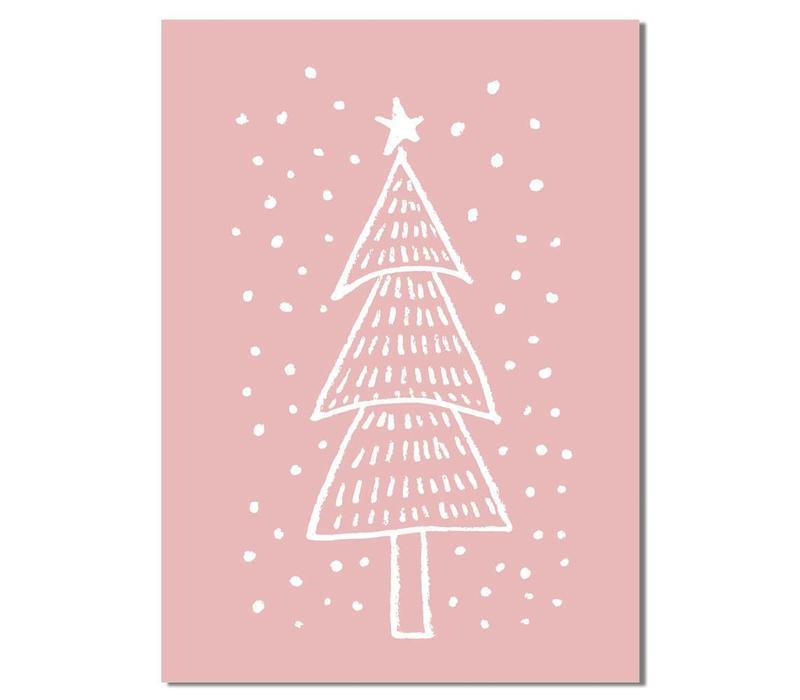 Kerstboom - Handgetekend - Kerst poster - Interieur poster - Wanddecoratie - Tekst poster - Roze