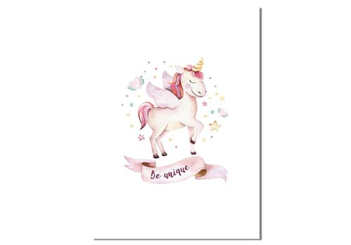 DesignClaud Unicorn / Eenhoorn poster - Be unique - Kinderkamer poster