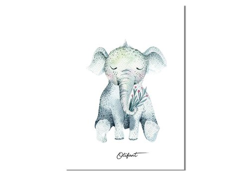 DesignClaud Olifant - Kinderkamer poster - Babykamer poster - Decoratie - Waterverf stijl dieren kids