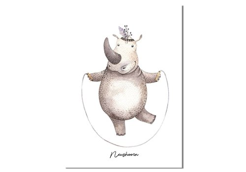 DesignClaud Neushoorn - Kinderkamer poster - Babykamer poster - Decoratie - Waterverf stijl dieren kids
