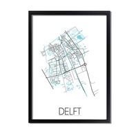 Delft Plattegrond poster