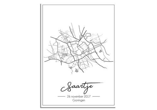 DesignClaud Geboorteposter Grijs - Stadskaart – Geboorteplaats Kraamcadeau