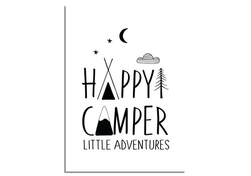 DesignClaud Happy Camper Little Adventures - Kinderkamer poster - Babykamer poster - Decoratie - Zwart wit poster
