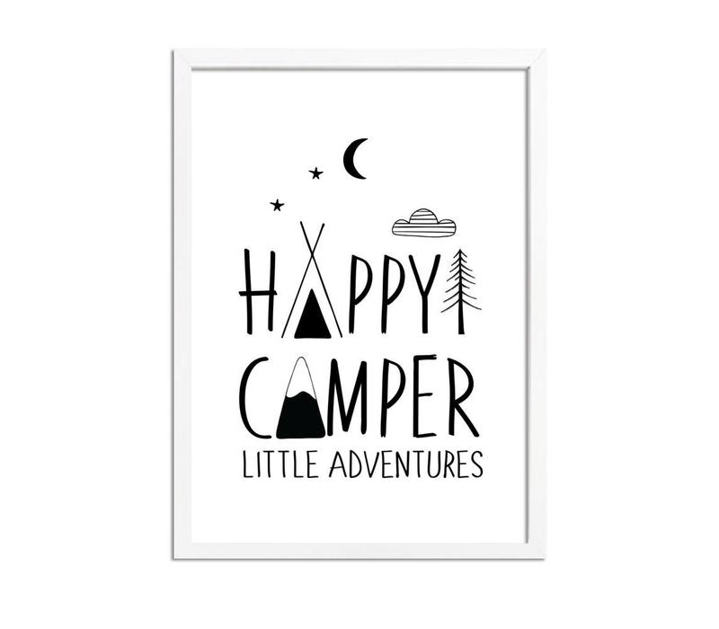 Happy Camper Little Adventures - Kinderkamer poster - Babykamer poster - Decoratie - Zwart wit poster