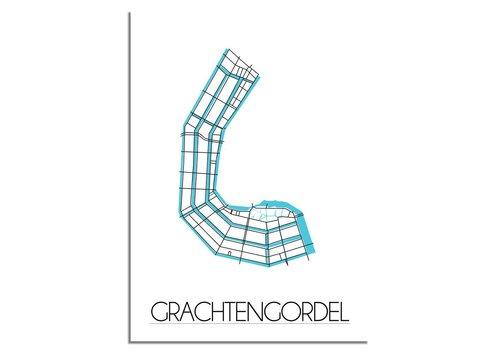 DesignClaud Amsterdam Grachtengordel Plattegrond poster
