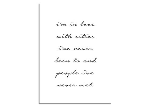 DesignClaud I'm in love with cities - Tekst poster - Wanddecoratie - Zwart wit poster