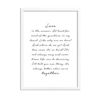 Love is the answer - Tekst poster - Wanddecoratie - Zwart wit poster