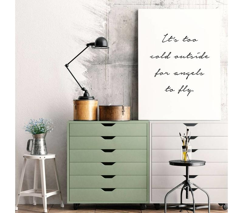 Its too cold outside for angels to fly - Tekst poster - Wanddecoratie - Zwart wit poster