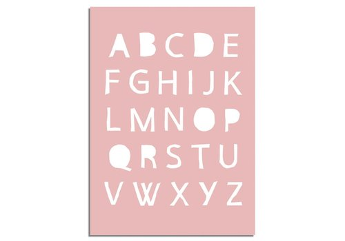 DesignClaud Super sale: ABC Roze Kinderkamer poster - Alfabet  - A3 formaat