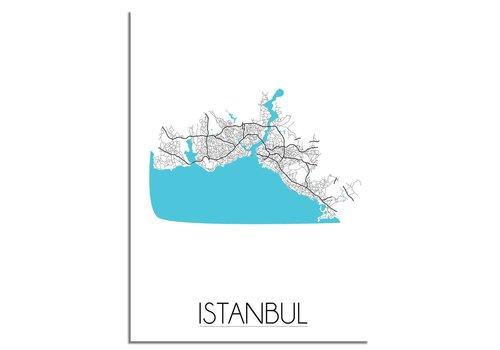 DesignClaud Istanbul - Stadskaart - Plattegrond - Interieur poster - wit