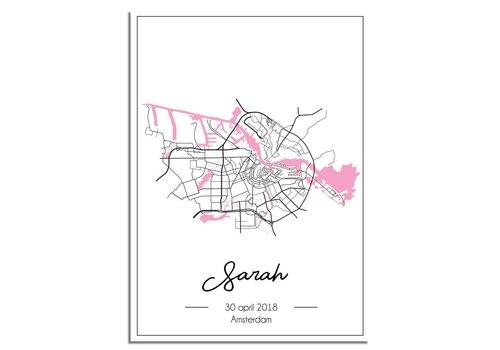 DesignClaud Geboorteposter Roze - Stadskaart - Geboorteplaats