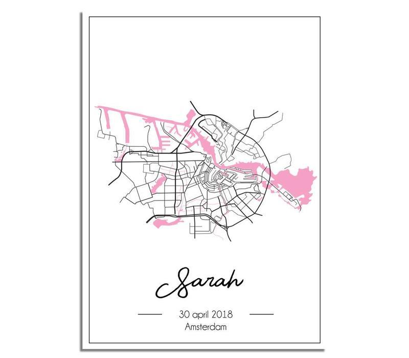 Geboorteposter Roze - Stadskaart - Geboorteplaats